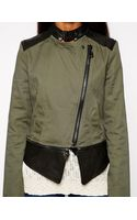 Doma Irregular Jacket with Contrast Leather Sleeves - Lyst