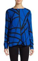 Michael Stars Silk High Low Shirt - Lyst