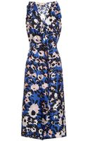 Marni Floral Print Silk Twill Dress - Lyst