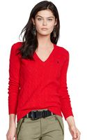 Polo Ralph Lauren Cable Knit V-Neck Sweater - Lyst