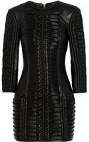 Balmain Stitched Wool-paneled Leather Mini Dress - Lyst