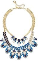 Kate Spade New York Gold-tone Blue Stone Two-row Statement Frontal Necklace - Lyst