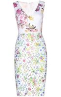 Giambattista Valli Printed Crepe And Embroidered Organza Dress - Lyst