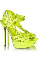 Sergio Rossi Neon Cutout Leather Platform Sandals - Lyst