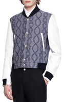 Thom Browne Jacquard and Leather Varsity Jacket - Lyst