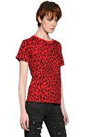 Saint Laurent Printed Cotton Jersey Tshirt - Lyst