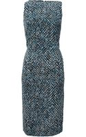 Oscar de la Renta Tweed Print Slim Dress - Lyst