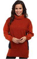 Lacoste Long Sleeve Color Block Wool Turtleneck Sweater - Lyst