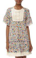 Love Moschino Crochetembellished Floral Ruffle Dress - Lyst