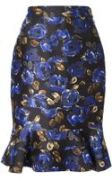 Oscar de la Renta Floral Ruffled Skirt - Lyst