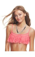 Becca Crochet Flounce Cropped Bikini Top - Lyst