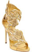 Giuseppe Zanotti 120mm Jeweled Metallic Leather Sandals - Lyst