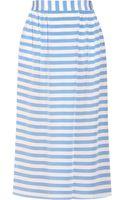 Tucker Striped Silk Crepe De Chine Skirt - Lyst