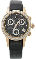 Bulova Womens Swiss Chronograph Masella Diamond Accent Black Leather Strap 31mm 65r150 - Lyst