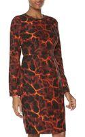 Rachel Roy Longsleeve Abstract Print Charmeuse Dress - Lyst