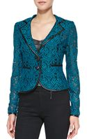 Nanette Lepore  Leather Trim Lace Jacket  - Lyst