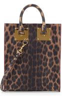 Sophie Hulme Mini Leather Tote Bag Leopardprint - Lyst
