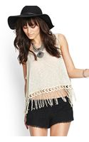 Forever 21 Fringed Openknit Tank - Lyst