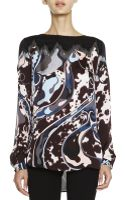 Emilio Pucci Mixed Print Silk Charmeuse Top - Lyst