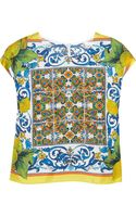 Dolce & Gabbana Printed Silk Top - Lyst