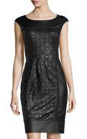 Lafayette 148 New York Lambskin Laserfront Panel Dress - Lyst