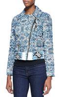 Just Cavalli Cyan Kennetprint Short Light Puffer Jacket Light Blue - Lyst