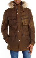 Andrew Marc Olive Real Fur Trim Hooded Down Coat - Lyst