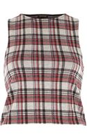 River Island Grey Check Racer Back Crop Top - Lyst