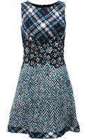 Oscar de la Renta Tweed Top Print Dress - Lyst