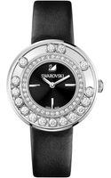 Swarovski Womens Swiss Lovely Crystals Anthracite Calfskin Leather Strap 35mm - Lyst