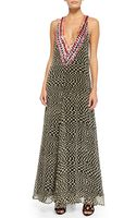 Mara Hoffman Deep-v Printed Beaded Georgette Gown - Lyst
