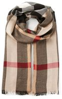Burberry London Check Camel Scarf - Lyst