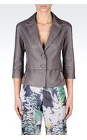 Emporio Armani Singlebreasted Jacket in Nappa Leather with Threequarter Sleeves - Lyst