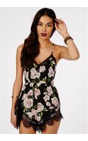 Missguided Alava Rose Print Chiffon Playsuit - Lyst