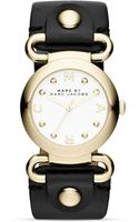 Marc By Marc Jacobs Mini Molly Black Leather Strap Watch 30mm - Lyst