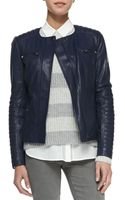 Vince Quiltedsleeve Leather Moto Jacket - Lyst