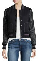 Rachel Zoe Faux-leather-sleeve Baseball Jacket - Lyst