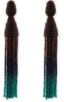 Oscar de la Renta Long Ombre Bead Tassel Clipon Earrings - Lyst
