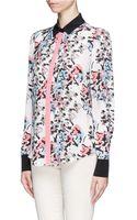 Prabal Gurung Floral Print Drape Back Silk Blouse - Lyst