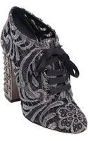 Dolce & Gabbana 100mm Macramé Lurex Lace Up Ankle Boots - Lyst