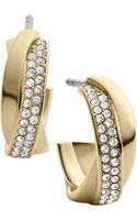 Michael Kors Goldtone Crystal Twisted Hoop Earrings - Lyst