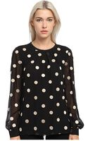 Kate Spade Dot Embroidered Silk Top - Lyst
