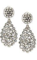 Oscar de la Renta Silver Crystal Earrings - Lyst