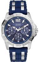 Guess Mens Chronograph Blue Silicone and Silvertone Bracelet Watch 43mm - Lyst