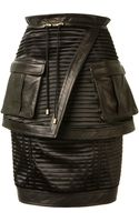 Balmain Black Bimaterial Pleated Pencil Skirt - Lyst