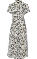 Suno Printed Washed-silk Midi Dress - Lyst