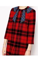 Love Moschino Coat in Tartan with Contrast Bow Applique - Lyst