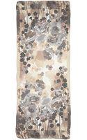 Valentino Silk Floralprint Scarf Brownmulti - Lyst