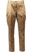 Oscar de la Renta High Waisted Brocade Trousers - Lyst