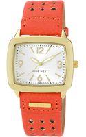 Nine West Womens Gold Tone Orange Strap Watch - Lyst